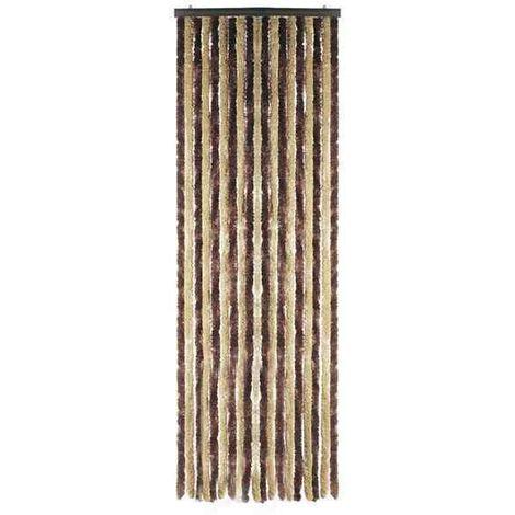 Rideaux de porte Chenilles tricolores Marron//Blanc//Gris
