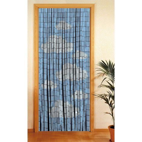 Rideau de porte en bambou Nuage - 90 x 200 cm - Bleu - Bleu