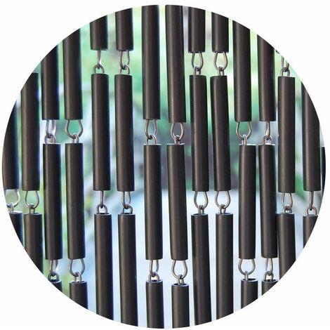Rideau de porte en polyéthylène anthracite et acier Campo
