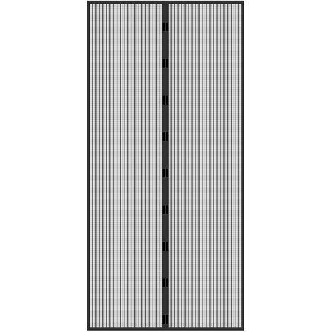 Rideau de porte moustiquaire anti moustique insecte magnétique 100 x 210 cm noir