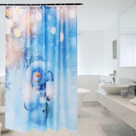 Rideau Douche Motif Bonhomme de Neige Avec 10 Crochet Pour Salle de bain