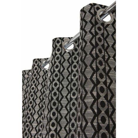 Rideau Effet Laine 140 x 250 cm à Oeillets Style Bohème Bicolore Noir Noir