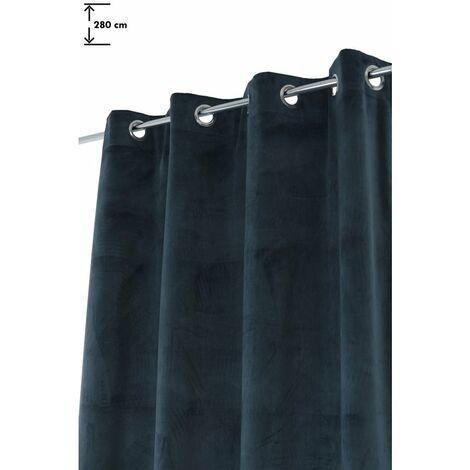 Rideau Effet Velours 130 x 280 cm Grande Hauteur à Oeillets Uni Bleu Paon Bleu - Bleu