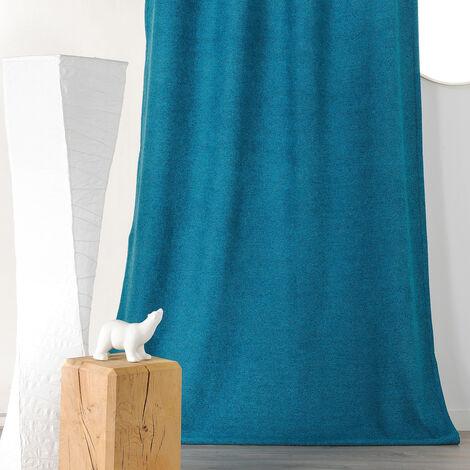 Rideau épais aspect laine chinée à galon fronceur Bleu 140 x 250 cm - Bleu