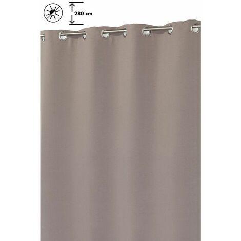 Rideau Grande Hauteur 135 x 280 cm à Oeillets Mat Uni Taupe Brun - Brun