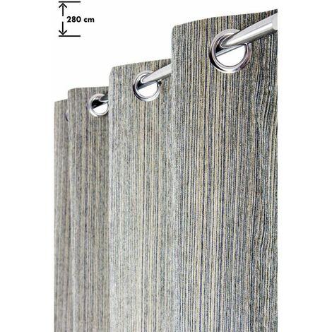 Rideau Grande Hauteur 135 x 280 cm à Oeillets Velours Chenillé à Fines Lignes Tissées Verticales Beige Bleu Vert Multicolore - Multicolore