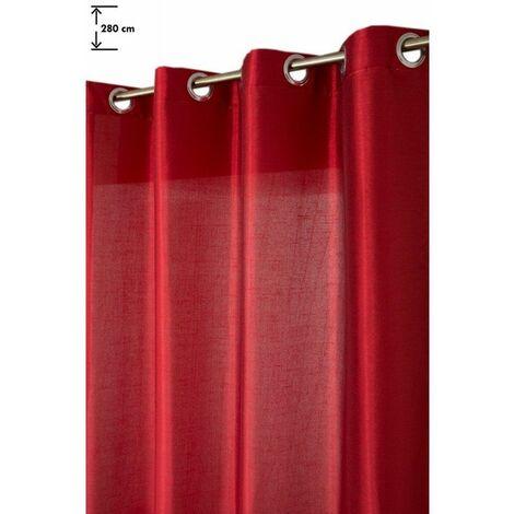 Rideau Grande Hauteur 140 x 280 cm à Oeillets Brillant Effet Soie à Fines Rayures Horizontales Rouge Rouge - Rouge