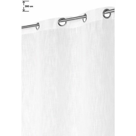 Rideau Grande Hauteur 140 x 280 cm Aspect Lin Lourd Blanc Blanc - Blanc