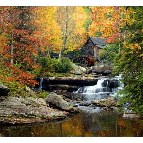 Rideau imprimé chute d'eau, maison et roue à aube et décors automne 280x245 cm, 2 parts