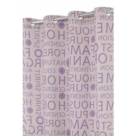 Rideau Imprimé en Polycoton à Oeillets 140 x 240 cm Motif Moderne Ecru-Violet Ecru