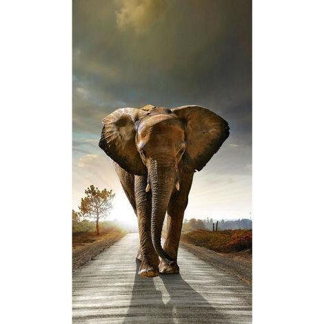 Rideau imprimé Grand éléphant de face 140x245 cm, 1 part