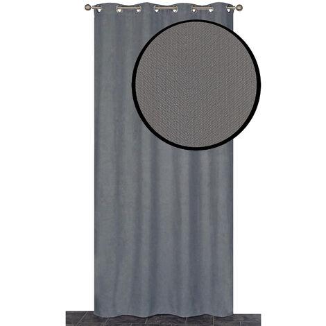 """main image of """"Rideau isolant thermique velours frappé Gris l140 x h240 cm - Gris"""""""