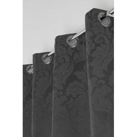 Rideau Jacquard à Oeillets 135 x 260 cm Motif Baroque Fleurs de Lys Style Empire Noir / Marron Noir - Noir