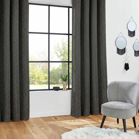 Rideau Jacquard Géométrie Noir 140 x 260 - Noir