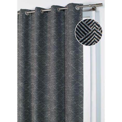 """Rideau Jacquard """"Gros Chevrons""""à l'aspect laineux Noir 140 x 260 cm - Noir"""
