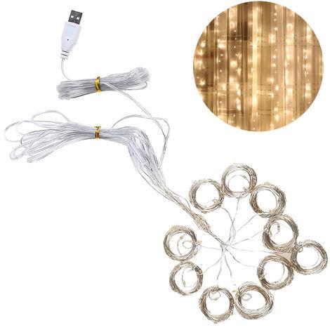Rideau Lumineux, 3 * 3 M, 300 Perles De Lampe, Lumiere Blanche Chaude