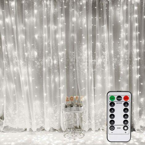 """main image of """"Rideau Lumineux, Fenêtre Guirlandes Lumineuses 300 LED 3m*3m, 8 Modes d'Eclairage, Ambiance pour Décoration Noël, Mariage, Anniversaire, Balcon, Terrasse, Chambre [Classe énergétique A+]"""""""