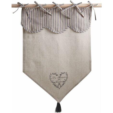 Rideau motif coeur gris - Beige