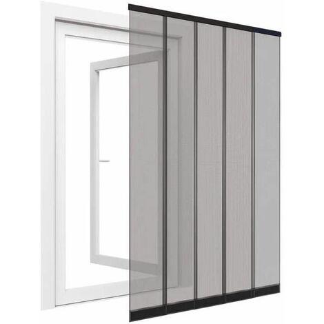 Rideau moustiquaire pour porte fenêtre en polyester 5 lamelles - 125x240 cm - Anthracite