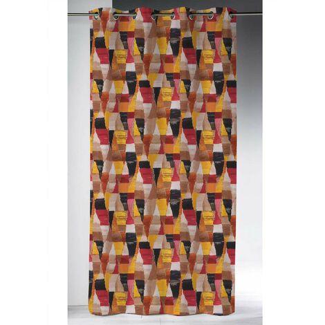 Rideau obscurcissant motif Arlequin Orange 145 x 260 cm - Orange