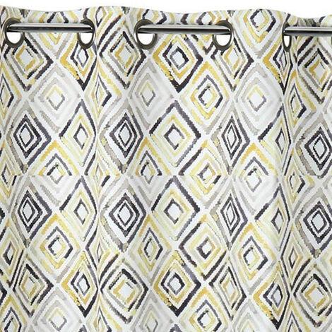 Rideau obscurcissant motifs géométriques losanges Jaune 145 x 260 cm - Jaune