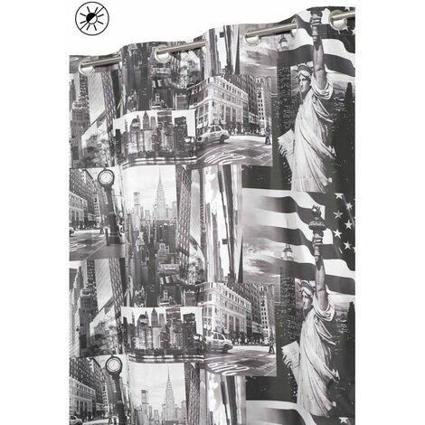Rideau Occultant 135 x 240 cm à Oeillets Imprimé Design City New York Gris - Gris