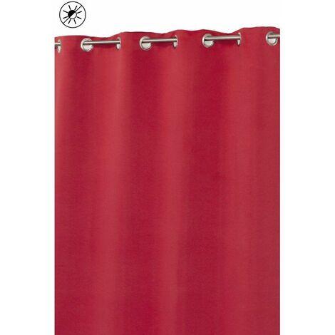 Rideau Occultant 135 x 240 cm à Oeillets Mat Matière Soyeuse Uni Rouge Tomate Rouge - Rouge