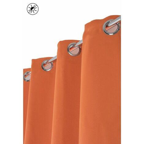 Rideau Occultant 140 x 240 cm à Oeillets Brillant Effet Satiné Uni Orange Orange - Orange