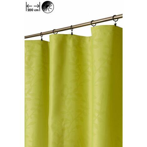 Rideau Occultant 200 x 270 cm à Galon Fronceur Grande Largeur Relief Motif Floral Estampillé Vert Vert - Vert
