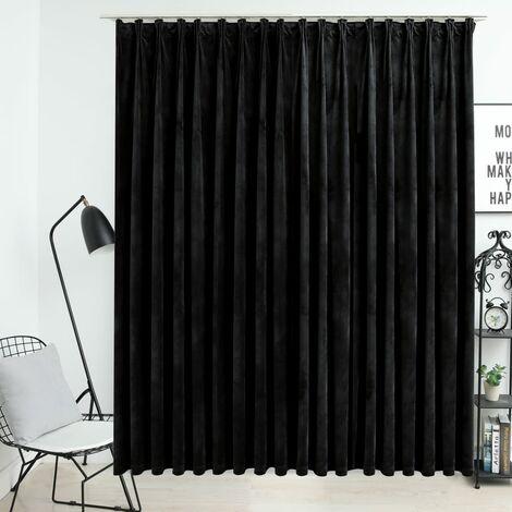 Rideau occultant avec crochets Velours Noir 290x245 cm