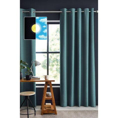 Rideau occultant baie vitrée 180 x 260 cm Obscure Bleu canard