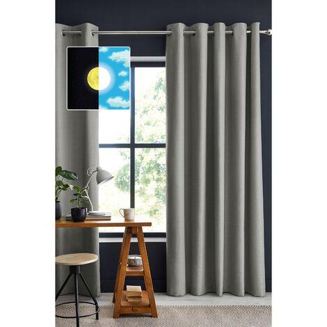 Rideau occultant baie vitrée 180 x 260 cm Obscure Gris clair