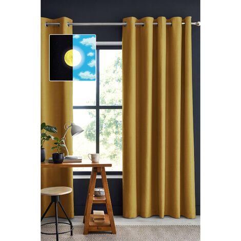 Rideau occultant baie vitrée 180 x 260 cm Obscure Moutarde
