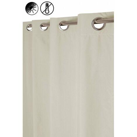 Rideau Occultant Thermique 135 x 260 cm à Oeillets Aspect Coton Uni Ecru Ecru - Ecru