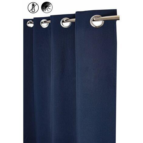 Rideau Occultant Thermique 135 x 260 cm à Oeillets Floqué Uni Bleu Bleu - Bleu
