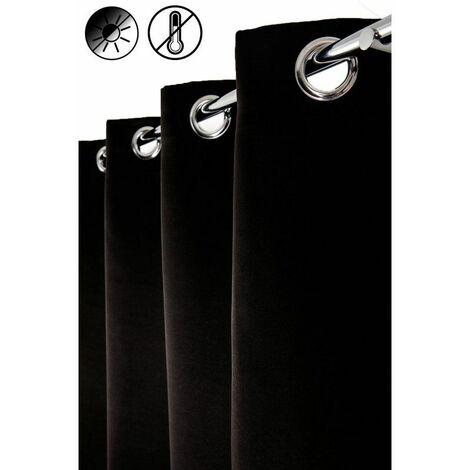 Rideau Occultant Thermique 140 x 240 cm à Oeillets Uni Noir Noir - Noir