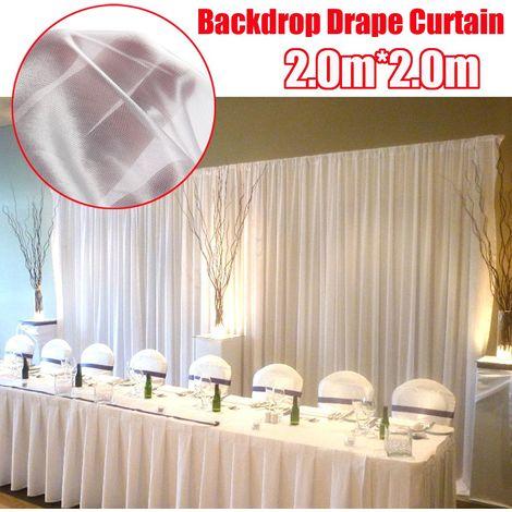Rideau Scène Arrière-plan Tissu Toile de fond Blanc 2x2M Décor Mariage Party Hasaki