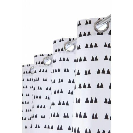 Rideau Style Scandinave à Oeillets 140 x 240 cm Blanc et Noir Blanc - Blanc