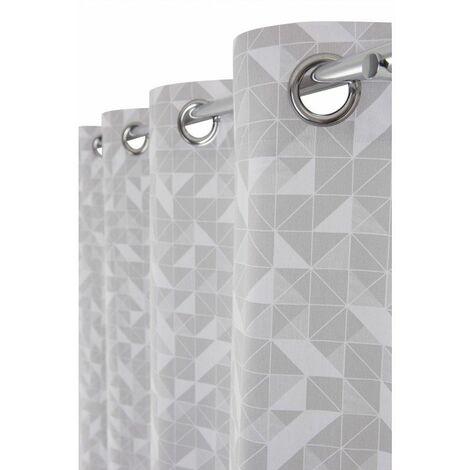 Rideau Tamisant 100% Coton 140 x 260 cm à Oeillets Imprimé Motifs Géométriques Gris Gris - Gris