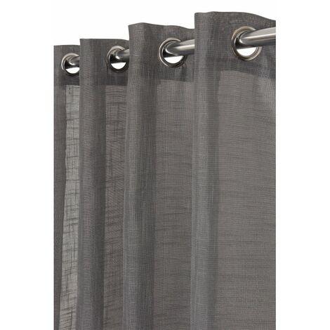 Rideau Tamisant 135 x 240 cm à Oeillets Effet Lin Tramé Uni Anthracite Gris - Gris