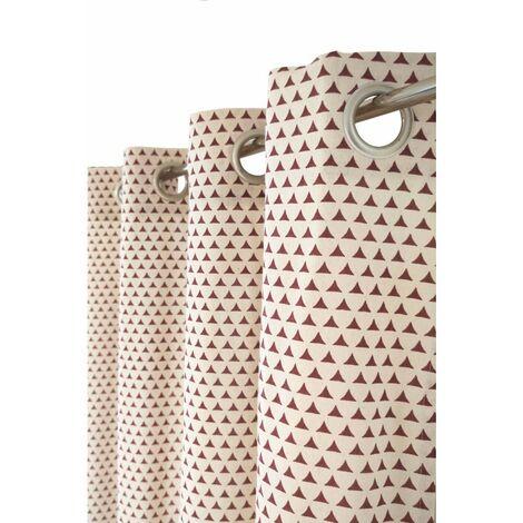 Rideau Tamisant 135 x 260 cm à Oeillets Polycoton Recyclé Imprimé Motif Petits Triangles Ethniques Bordeaux Rouge - Rouge