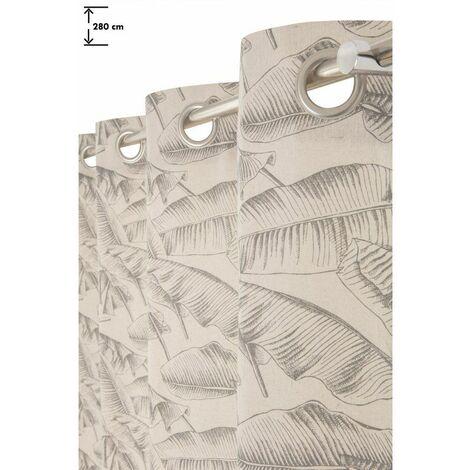 Rideau Tamisant 135 x 280 cm à Oeillets Grande Hauteur Imprimé Feuilles Naturel Naturel - Naturel