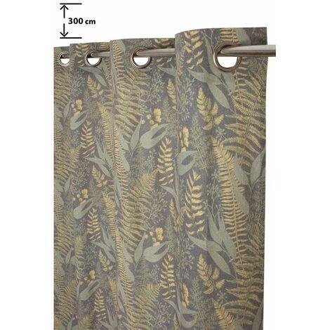 Rideau Tamisant 135 x 280 cm à Oeillets Grande Hauteur Polycoton Recyclé Imprimé Motif Végétal Vert Vert - Vert