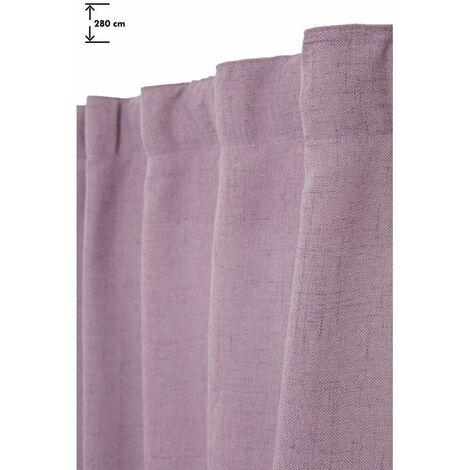 Rideau Tamisant 135 x 280 cm Grande Hauteur à Galon Fronceur Pattes Cachées Aspect Chiné Mauve Violet - Violet