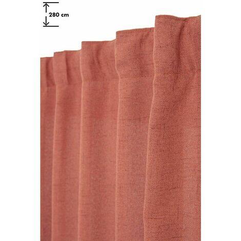 Rideau Tamisant 135 x 280 cm Grande Hauteur à Galon Fronceur Pattes Cachées Aspect Chiné Rouge Rouge - Rouge