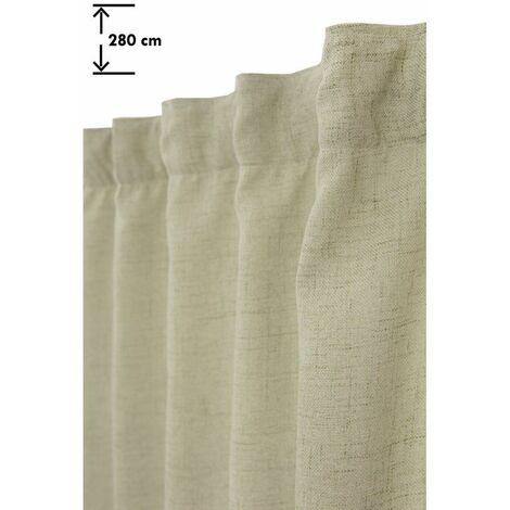 Rideau Tamisant 135 x 280 cm Grande Hauteur à Galon Fronceur Pattes Cachées Aspect Chiné Vert Vert - Vert