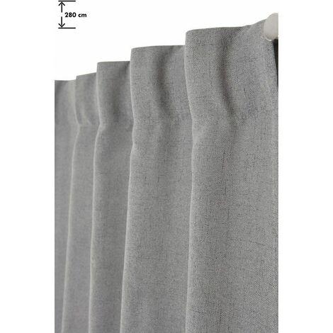 Rideau Tamisant 135 x 280 cm Grande Hauteur à Galon Fronceur Pattes Cachées Chambray Chiné Gris Gris - Gris