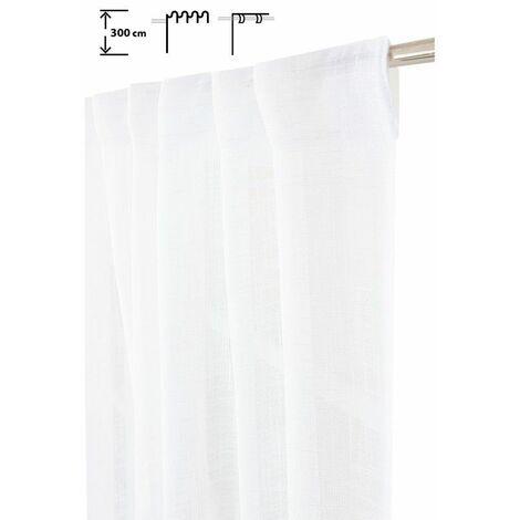 Rideau Tamisant 135 x 300 cm à Galon Fronceur et Pattes Cachées Grande Hauteur Effet Lin Uni Blanc Blanc - Blanc