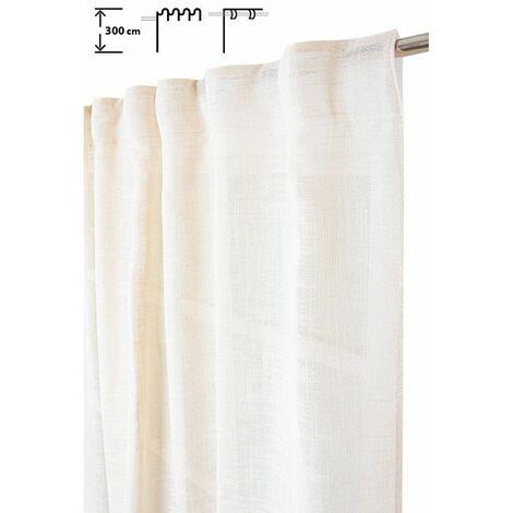 Rideau Tamisant 135 x 300 cm à Galon Fronceur et Pattes Cachées Grande Hauteur Effet Lin Uni Ecru Ecru - Ecru
