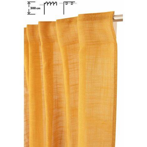Rideau Tamisant 135 x 300 cm à Galon Fronceur et Pattes Cachées Grande Hauteur Effet Lin Uni Moutarde Jaune - Jaune